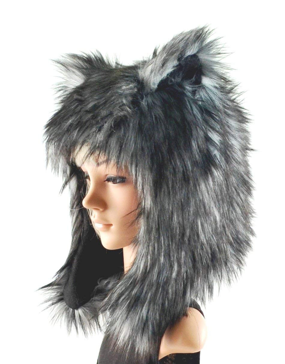 c1a51e7cb91 Get Quotations · Grey Husky Wolf Hat Faux Fur Animal Hat