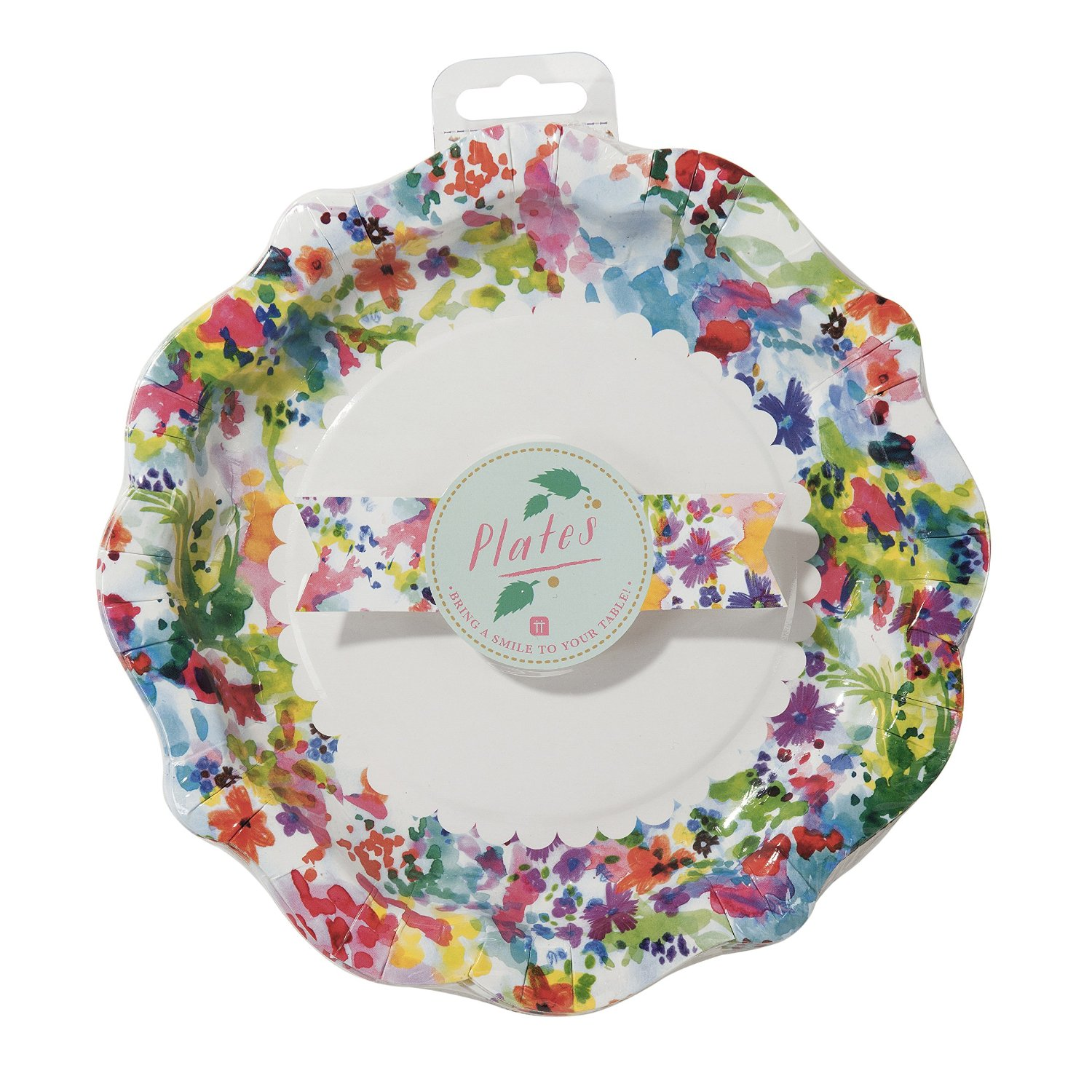 Talking Tables Floral Fiesta Large Colorful Disposable Plates, 12 count, for a Tea Party, Birthday or Luau Party