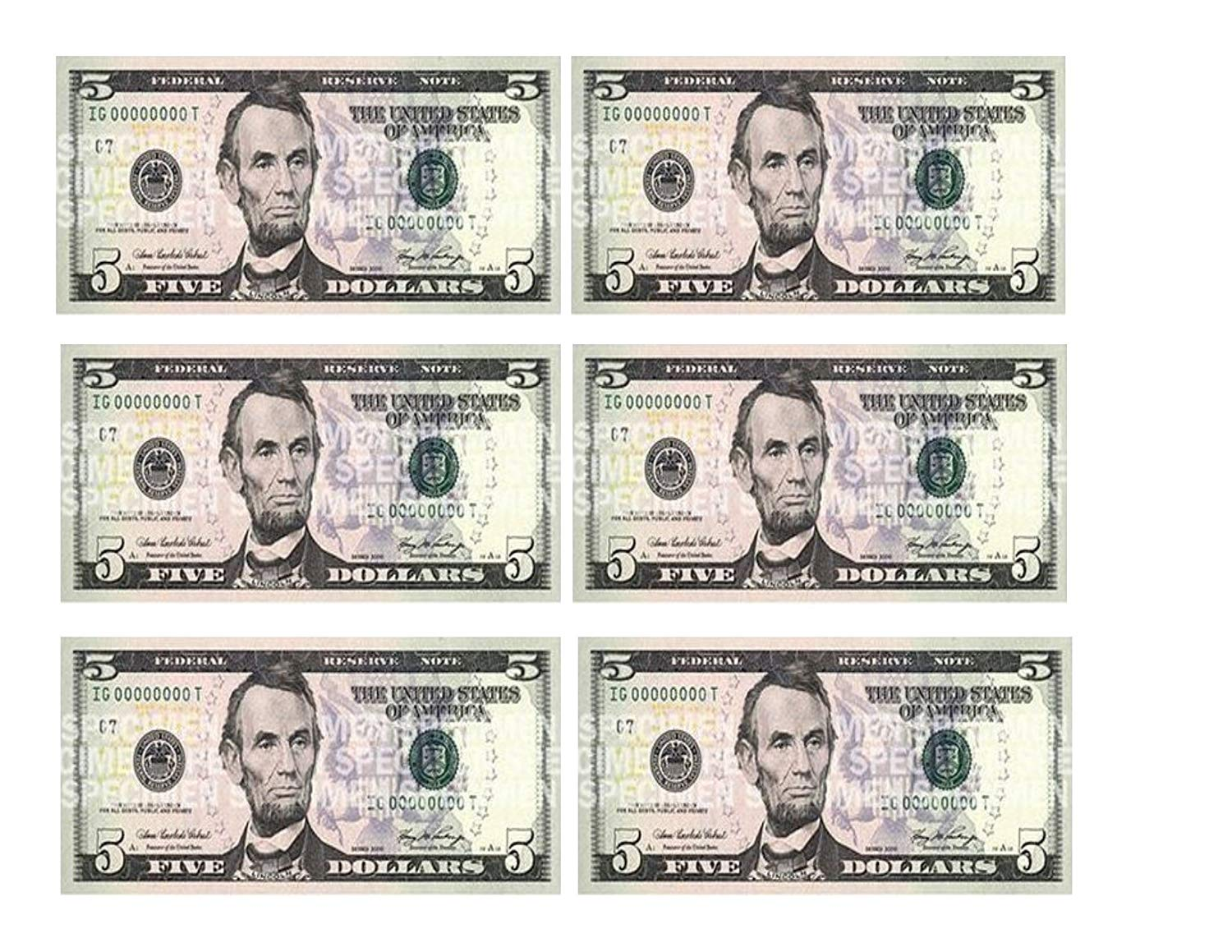 Five Dollar Bill Edible Icing Image Cake Border