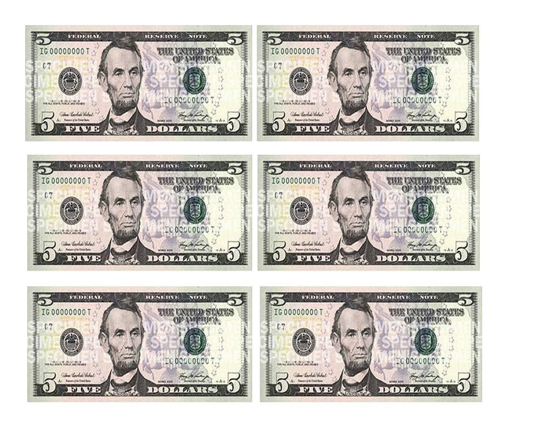 Five Dollar Bill Edible Icing Image Cake Border