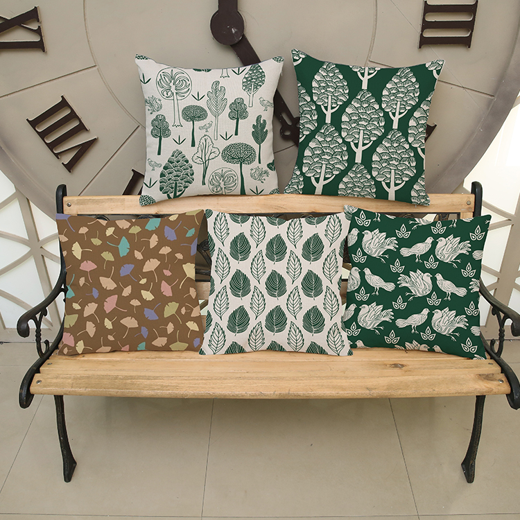 Factory outlets Bird ginkgo tree Square Pattern printing Luxury home Decorate Car sofa seat cushion cushions pillow Package mail