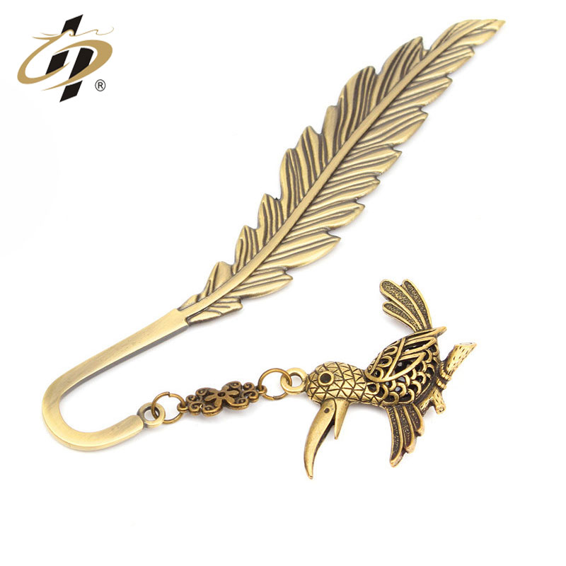 Vintage custom Wholesale cheap  Bird pendant  bookmark with metal chain