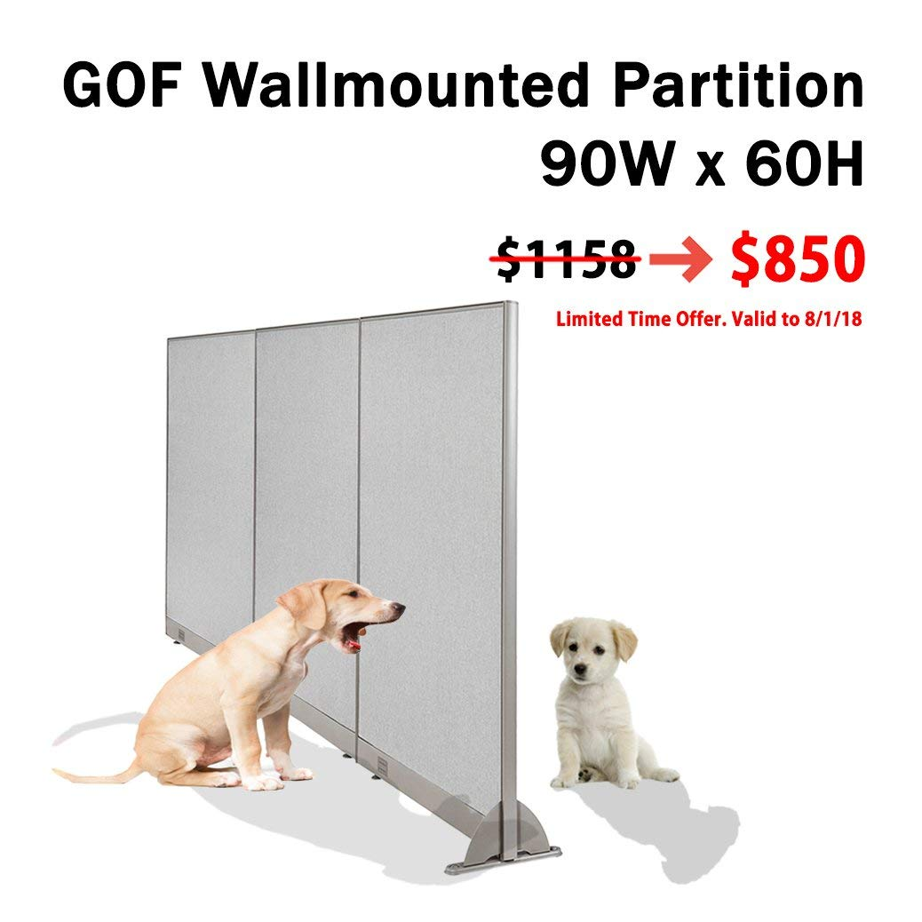 GOF [Limited Time Special] Wall Mounted Office Partition, 90W x 60H / Office Panel, Room Divider (90W x 60H)