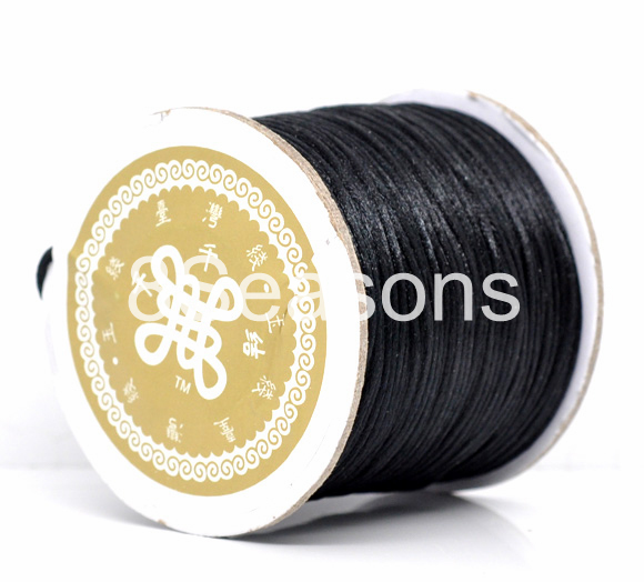 Black Jewelry Beading Nylon Cord 80Yards(73M)/1.5mm, sold per packet of 1 roll(80Yards)