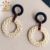 wheat straw resin earring cornstalk weave lucite hoops nature handmade dangler earrings er12521