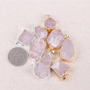 Yase wholesale 120 pcs /bag mix natural gemstone pendant rose quartz healing crystal stone pendant irregular shape pendant