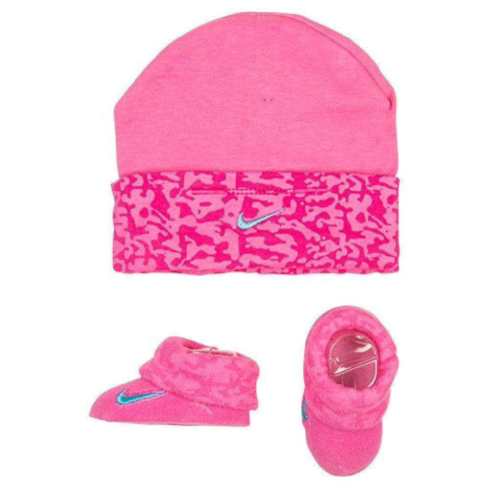 daea6b038d8 Get Quotations · Nike Baby Girl s Swoosh Camo Print Hat   Booties Set 0-6M