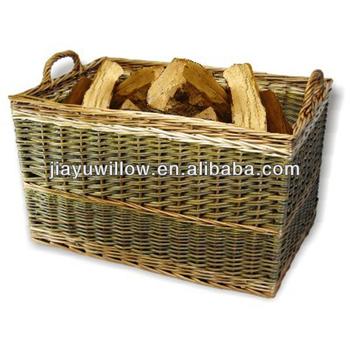 Gran cesta de mimbre rectangular para le a buy product - Cestos para lena ...
