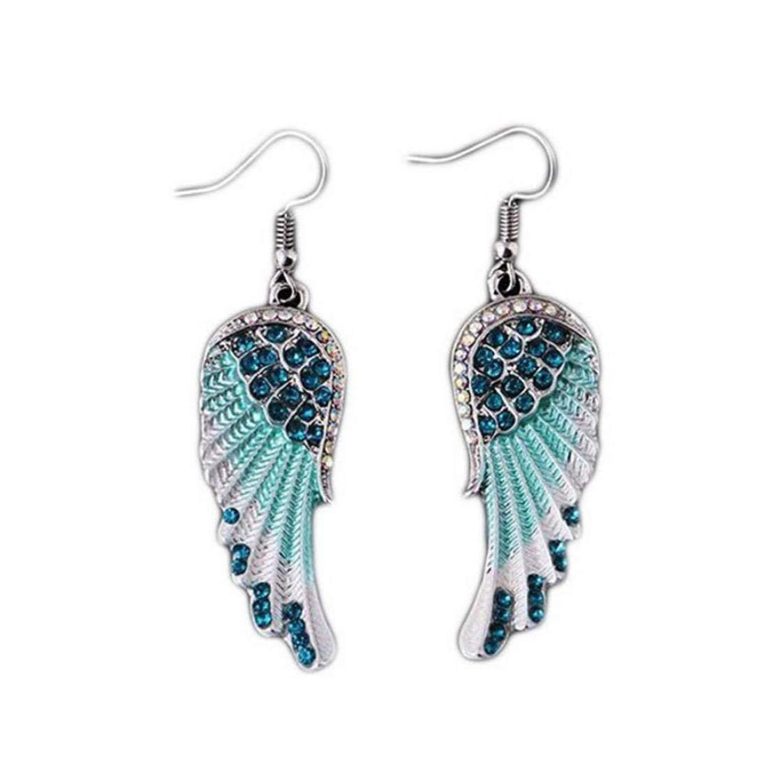 Women's Angel Wings Earrings, Clearance! Iuhan Sparkling Angel Wings Diamond Earrings Long Dangle Hook Earrings (B)