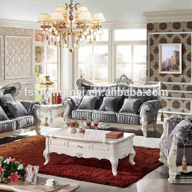 Silver Fabric Sofa Sets Wood Carving