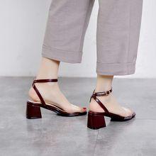 Большие размеры 11, 12, 13; босоножки на высоком каблуке; женская обувь; женские летние босоножки с прозрачными ремешками на толстом каблуке(Китай)