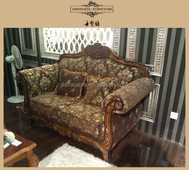 Perfect DXY 845# Old Style Wooden Sofa,fabric Sofa