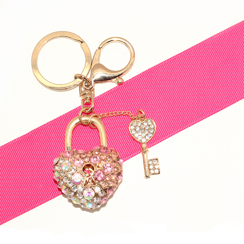 High Quality Key and Heart Lock Charms Keychain Crystal Rhinestone Keyring For Girl firend Gift