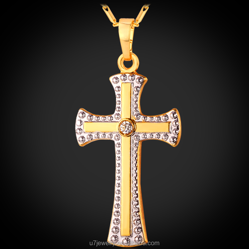 23dc18e09770 U7 dos tono oro Cruz COLLAR COLGANTE para las Mujeres 18 K chapado en oro y