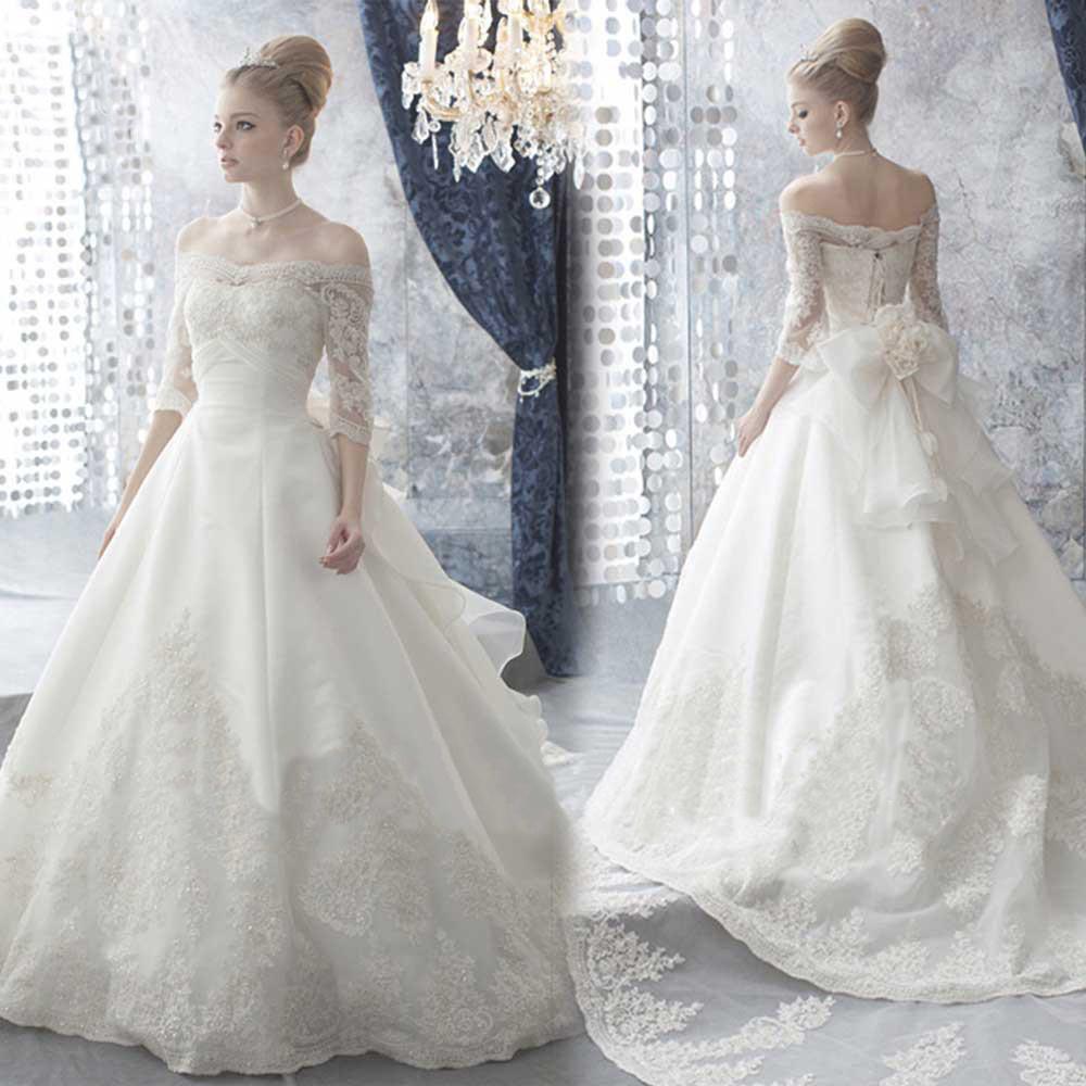 Sapphire Bridal Vintage Wedding Dress 3 4 Sleeve White: Vintage 3/4 Sleeve Flowers Bow A Line Court Train Lace