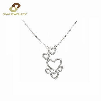 Fashion Jewellery Symbol All of Love Drop Six Heart Necklace Sterling Silver