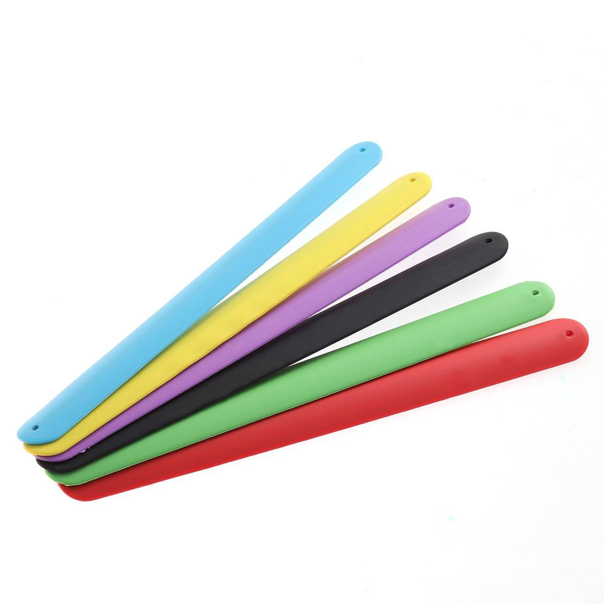 NUOLUX Slap Bracelets,Color Silicone Bracelet for Kids Party Favors,6pcs,Random Color
