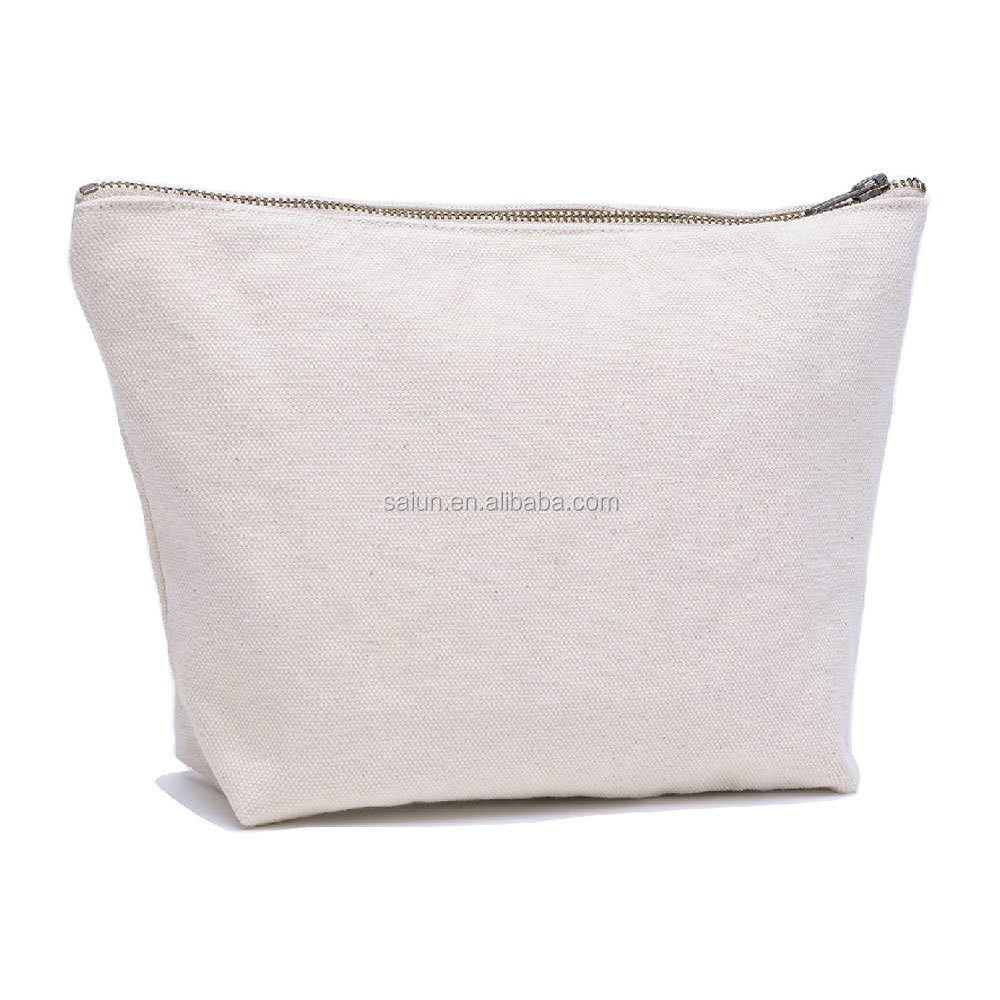 Blank Canvas Cosmetic Bag White Toiletry Zipper Pouch Bags Product On