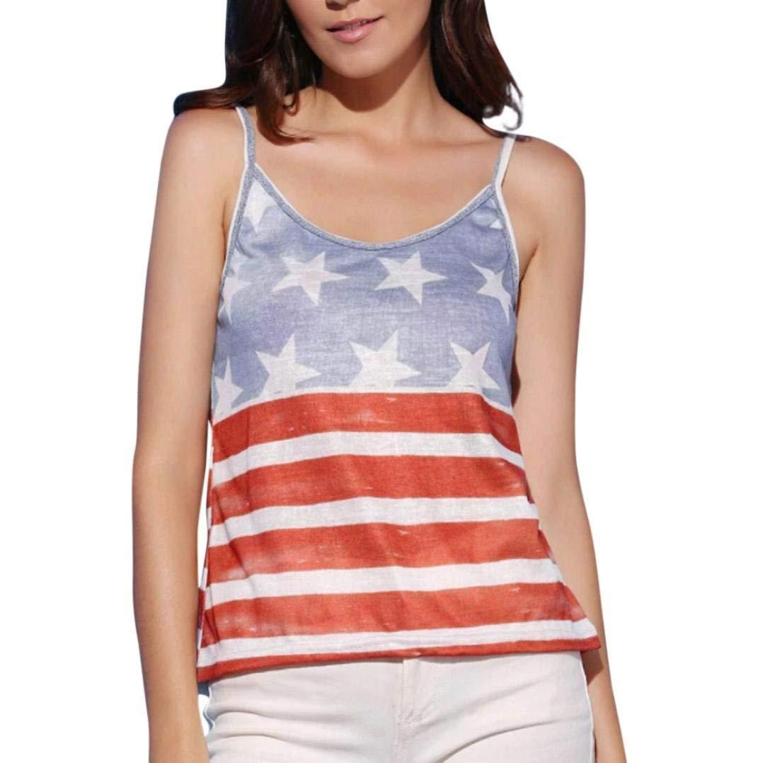 Camisole, Women Fashion American Flag Printed Sling T Shirt Sleeveless Tank Tops Vest