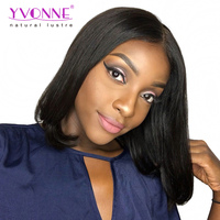 Alibaba Trade Assurance 180% Density Brazilian Virgin Hair Bob Wig Short Lace Front Wig With Swiss Lace