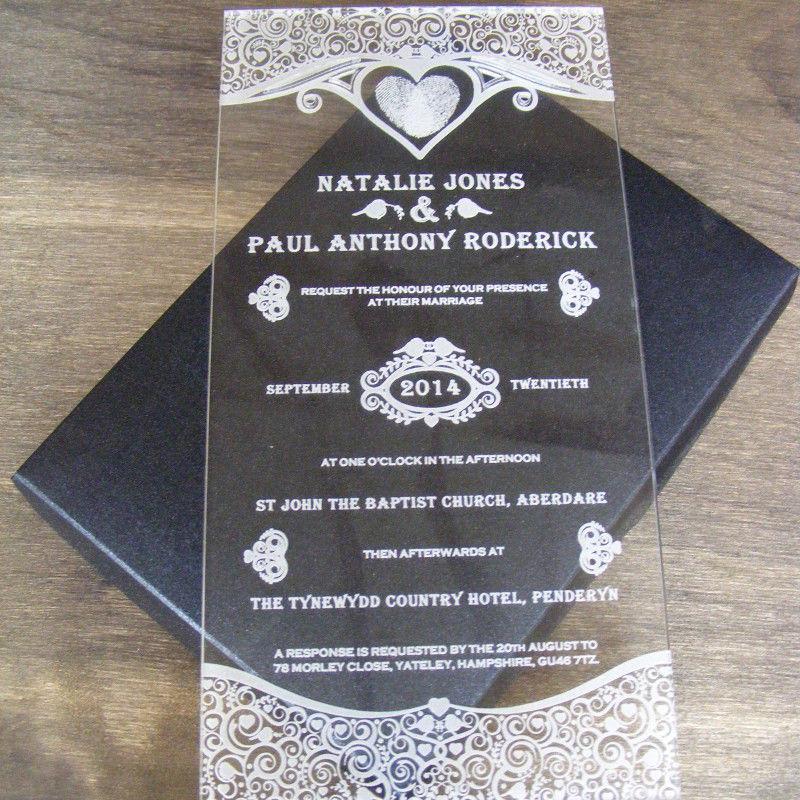 Crystal Heart Shape Acrylic Invitation Cards For The Groom