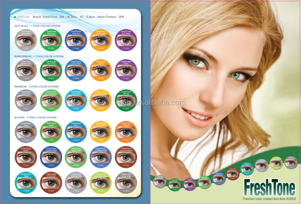 3 Tone Fresh Tone Color Contact Lenses Freshtone Classic Yearly ...