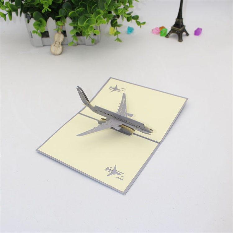 Creative 3D Paper Cut Postcard Craft Sample Airplane Model Card