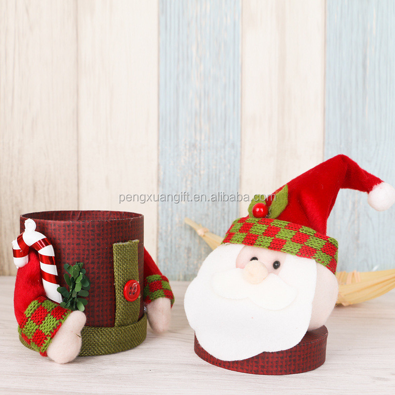 Christmas Decoration Linen Gift Box Cute Santa Claus Scarf Deer Snowman Candy Jar New Year Supplies Flax Plush Doll Holders