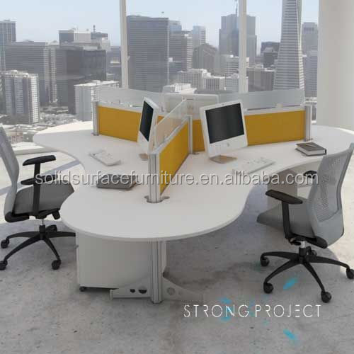 Renewable! modern 120 degree 3 person office workstation