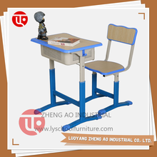 New style injection edge student single wooden table with PE chair