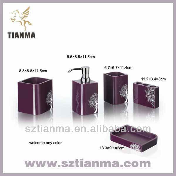 violet salle de bains accessoires set usine lots de salle de bain id de produit 606330374 french. Black Bedroom Furniture Sets. Home Design Ideas
