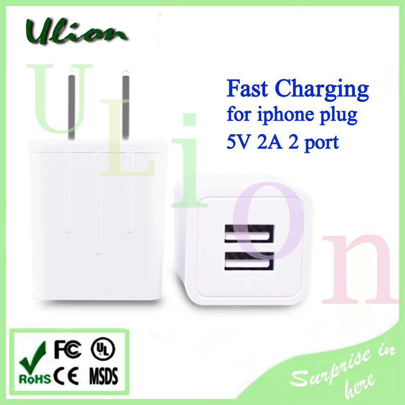 White US dual port USB Wall Charger 5V 2.1A Fast Charging For Samsung Galaxy S2 S3 S4 S5 Note2 Note3 For iPhone6