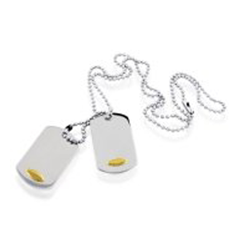 18K Gold Accented Double Dog Tag in Stainless Steel