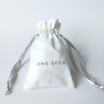Custom Logo printed luxury small jewelry muslin drawstring gift favor bag for wedding