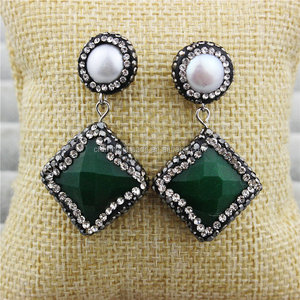 CH-MAE0091 Wholesale pave diamond agate stone stud earring,fashion pearl beads stud dangle earring,hot sale statement earring