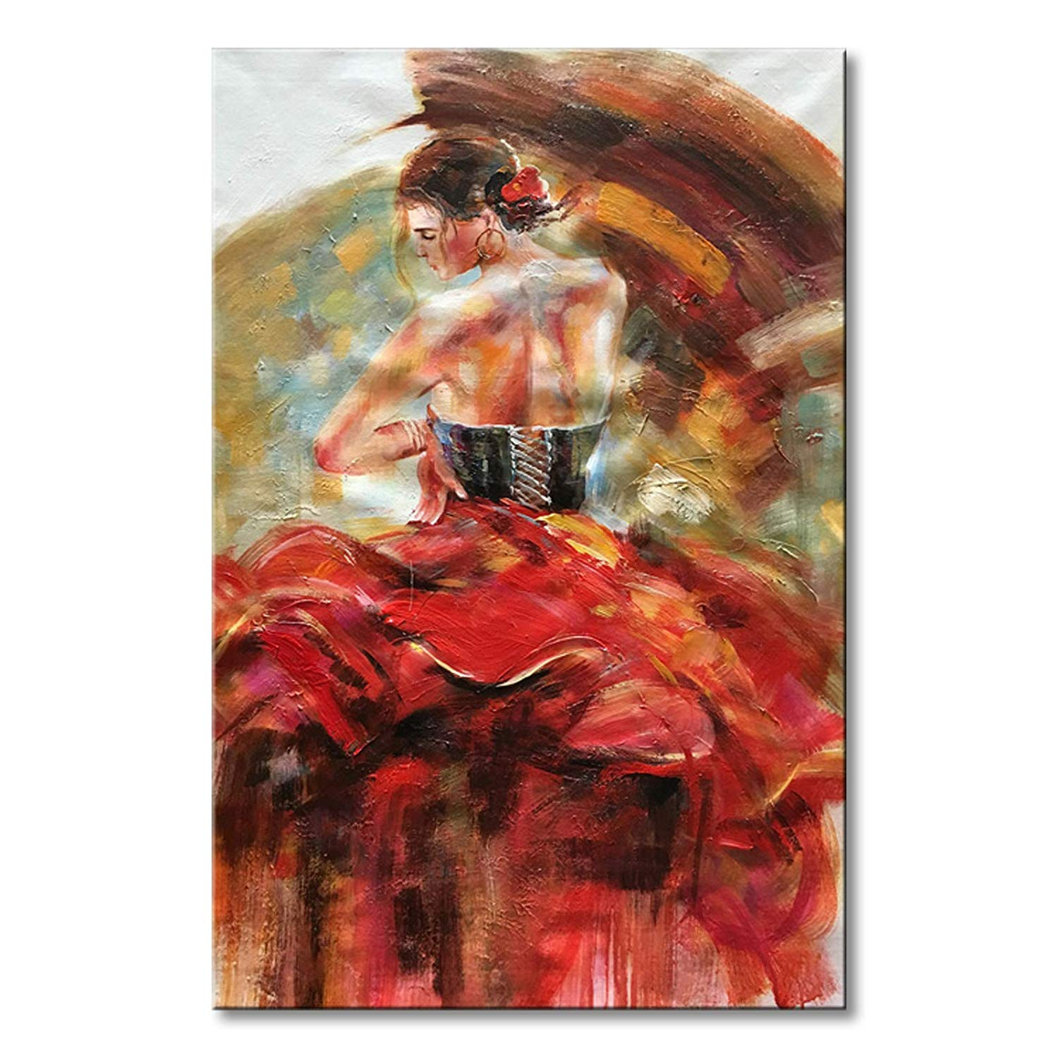 Seekland Art Large Hand painted Nude Lady Dancing with Red Dress Abstract Canvas Wall Art Impression Oil Painting Modern Contemporary Artwork Fine Pictures Unframed (3648 inch)