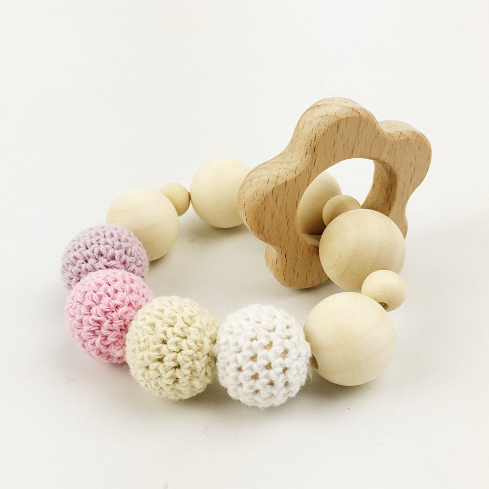 Baby Teether Safe Wood Infant Toy Teething Toys Organic Baby Chew Rattle Babyshower Baby Gift wooden ring/Beads Crochet Beads