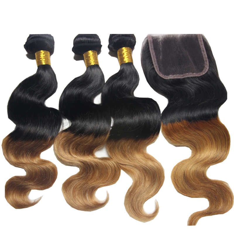 Ombre Peruvian virgin hair body wave with closure Wet and Wavy Virgin Peruvian ombre Hair with Closure 4 Bundles With Closure
