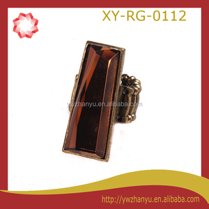 fashion amber colors elastic long finger ring