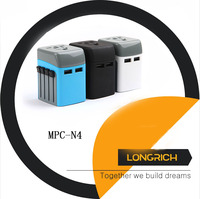 Universal USB Travel Power Adapter-Longrich All In One Wall Charger AC Power Plug Adapter For USA EU UK AUS Cell Phone ---MPC-N4