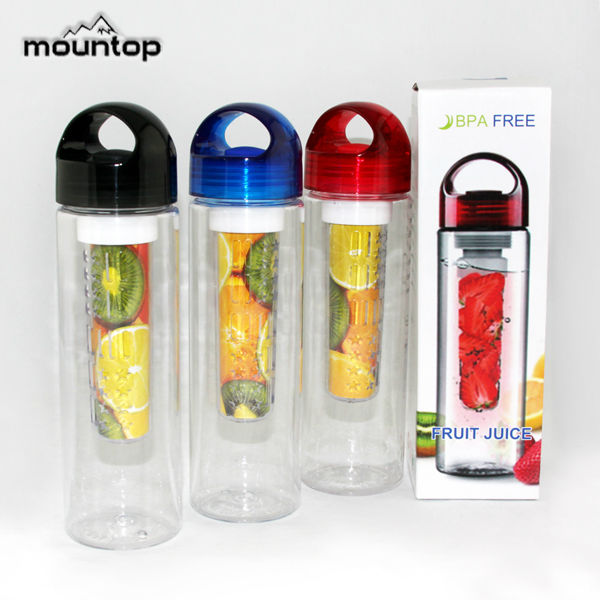 1L FRUIT INFUSER WATER BOTTLE PLASTIC BPA FREE SPORTS HEALTH WITH TIMES TO DRINK