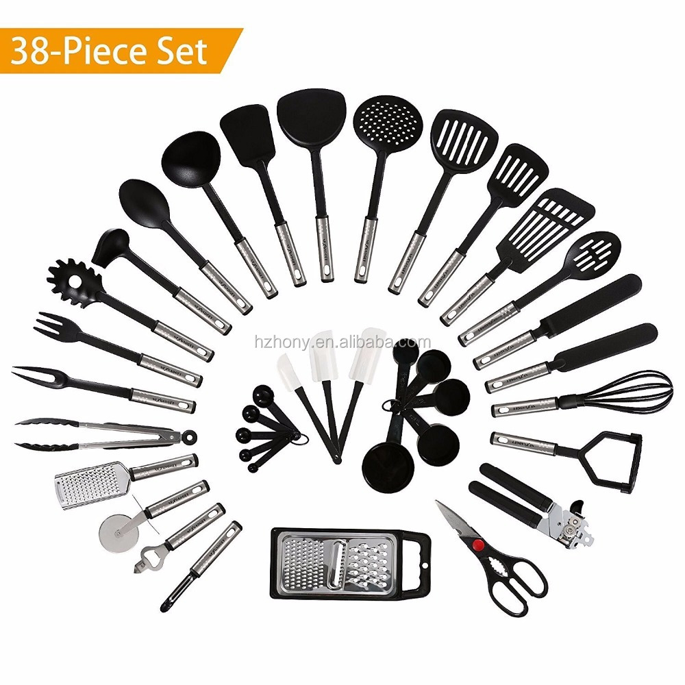 cheap and hot selling on amzon NEXGADGET Stainless Steel and Nylon Kitchen Utensils Set, 38 Pieces
