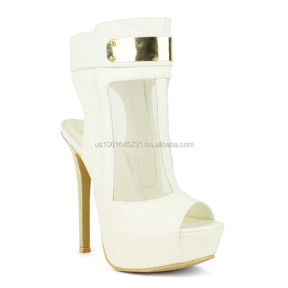 Fahrenheit White Peep-Toe High Heel Pump | Divina-07