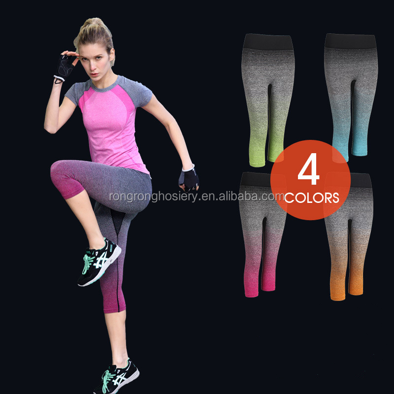 Hot sale gradient warna fleksibel latihan workout yoga capris celana