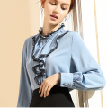 New flounces lace shirt women long sleeve fashion black chiffon shirt loose