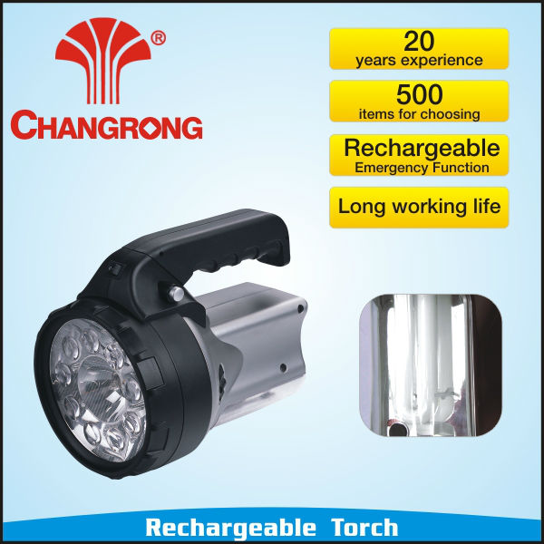 Grey color led torch with rechargeable battery&7W tube
