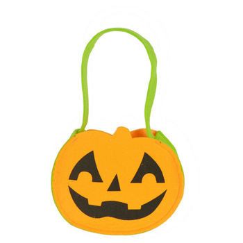 Factory direct sale portable smiling face nonwoven pumpkin bag candy bag cosplay witch property
