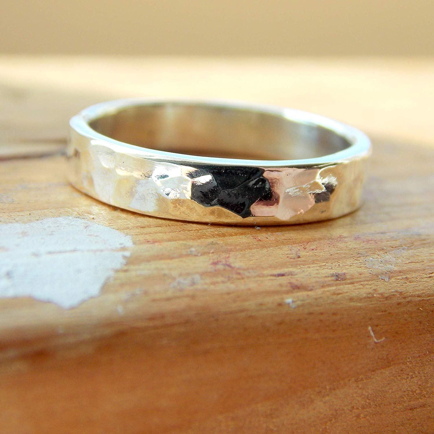 21c44c6942603 Buy Opal Hammered Band Cab Ring: stackable birthstone ring, sterling ...