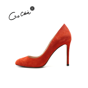 Design Fashion High Heels Genuine Leather Party Wear Shoes For Girls Red Pumps