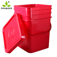 5 gallon customized square plastic paint bucket with lid 20L